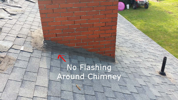 chimney with no flashing installed
