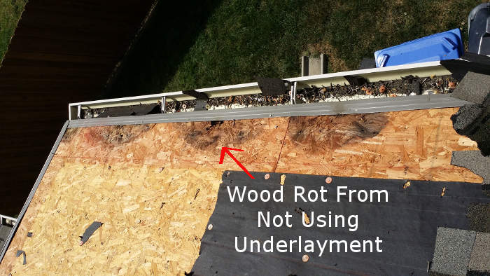 wood rot from no underlayment on wood decking
