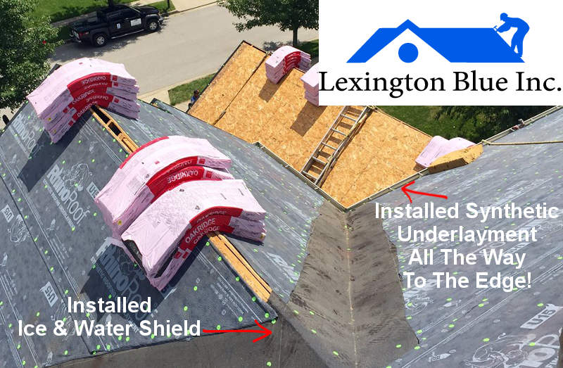installing synthetic underlayment ice water shield roof lexington ky