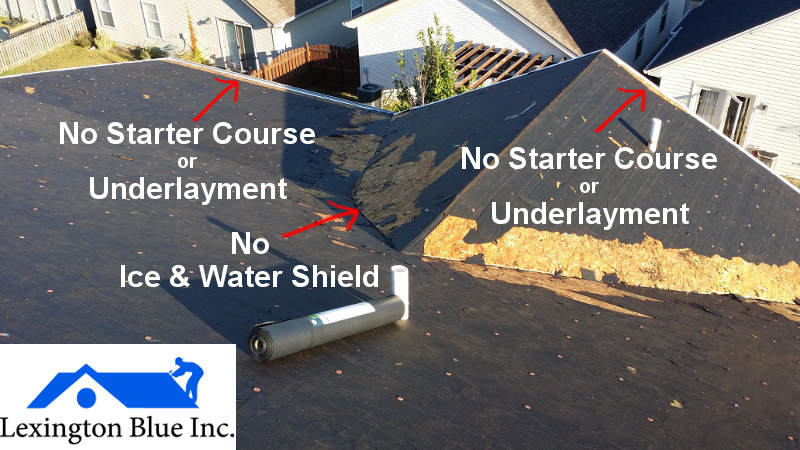 roof leaking no underlayment ice water shield lexington ky