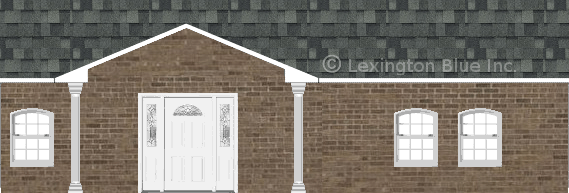 brown brick house estate gray colored shingle