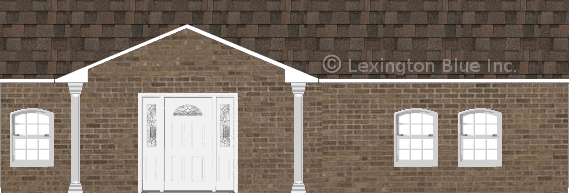 brown brick house flagstone colored shingle