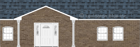 brown brick house harbor blue colored shingle