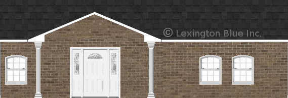 brown brick house onyx black colored shingle