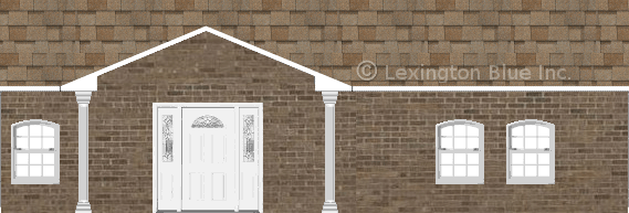 brown brick house sand castle colored shingle