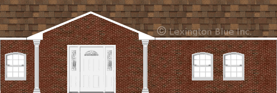 red black brick house aged cedar colored shingle)