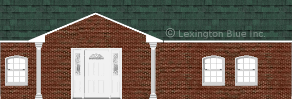 red black brick house chateau green colored shingle