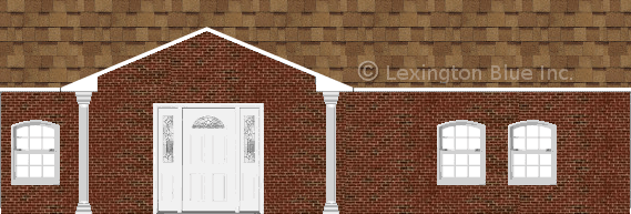 red black brick house desert tan colored shingle