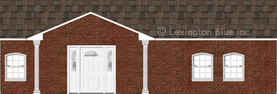red black brick house flagstone colored shingle