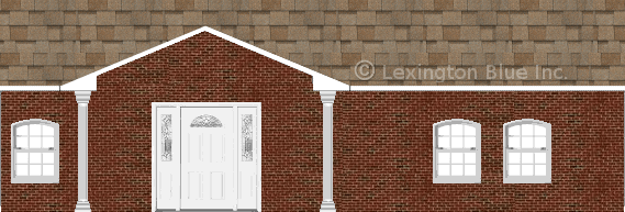 red black brick house sand castle colored shingle
