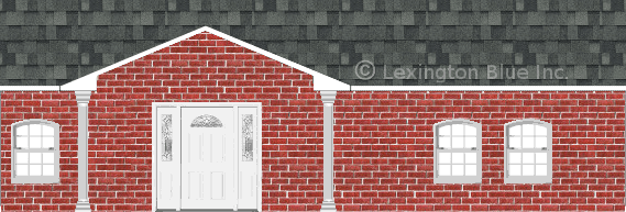 red brick house estate gray colored shingle
