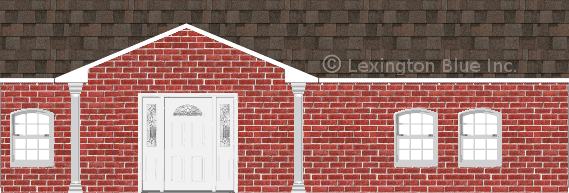 red brick house flagstone colored shingle