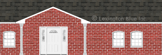 red brick house peppermill gray colored shingle