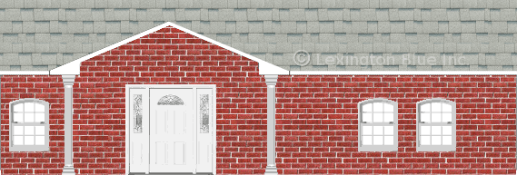red brick house shasta white colored shingle
