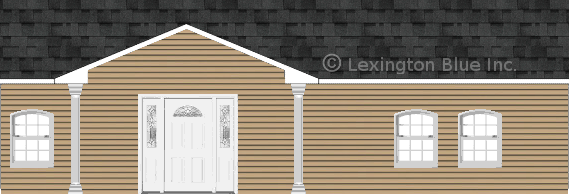 tan vinyl siding home twilight black colored shingle