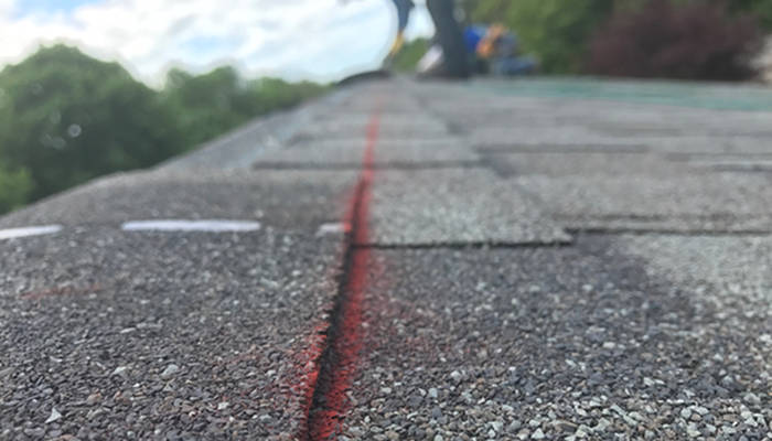 marking straight lines for shingle placement 5-19-17