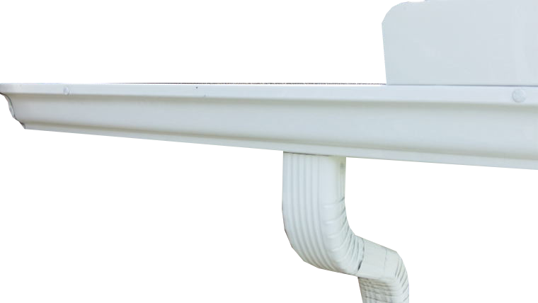 white aluminum gutters with downspout