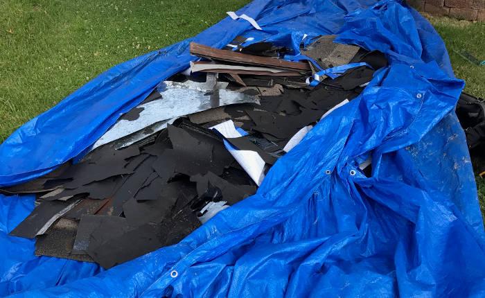 roofing debris caught in tarp