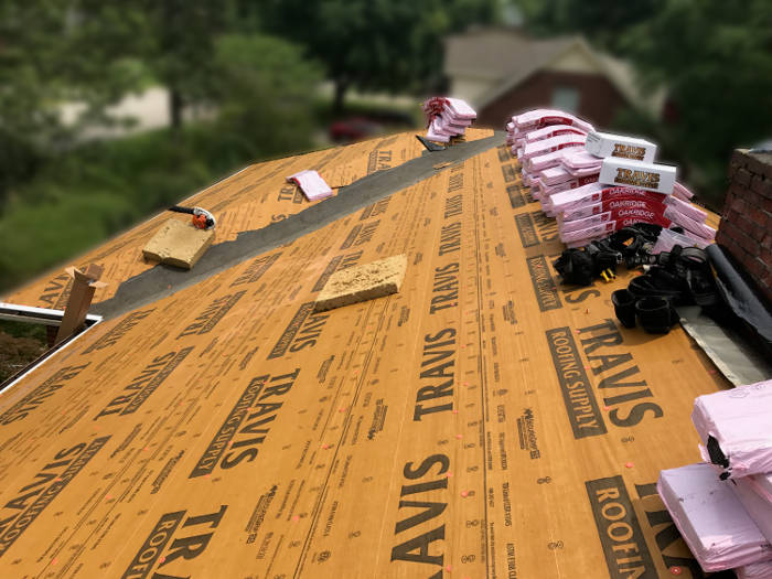 synthetic underlayment installed before shingles