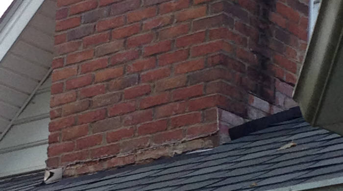 missing flashing on chimney