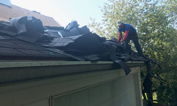 removing old shingles and materials 9-25-17