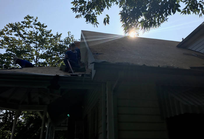 scraping all old roofing materials 9-25-17