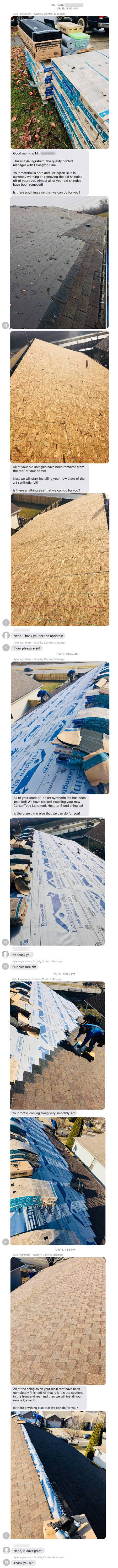 roofing progress report documentation text messages