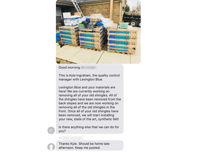 keeping homeowner updated on roofing installation progress with text message updates