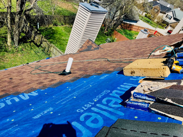 starting our shingle installation 4-20