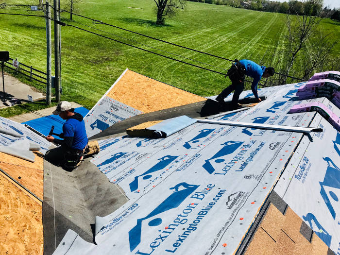 installing ice water shield on roof 4-27